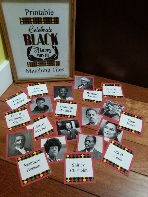black history month matching tiles printed