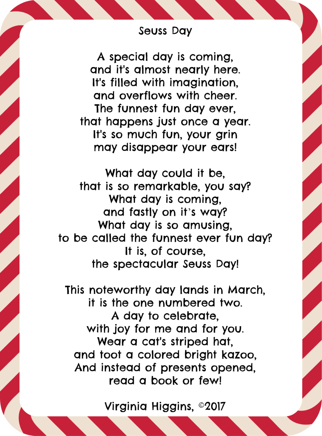 Seuss Day Poem by Virginia Higgins, ©2017 at thatbaldchick.com