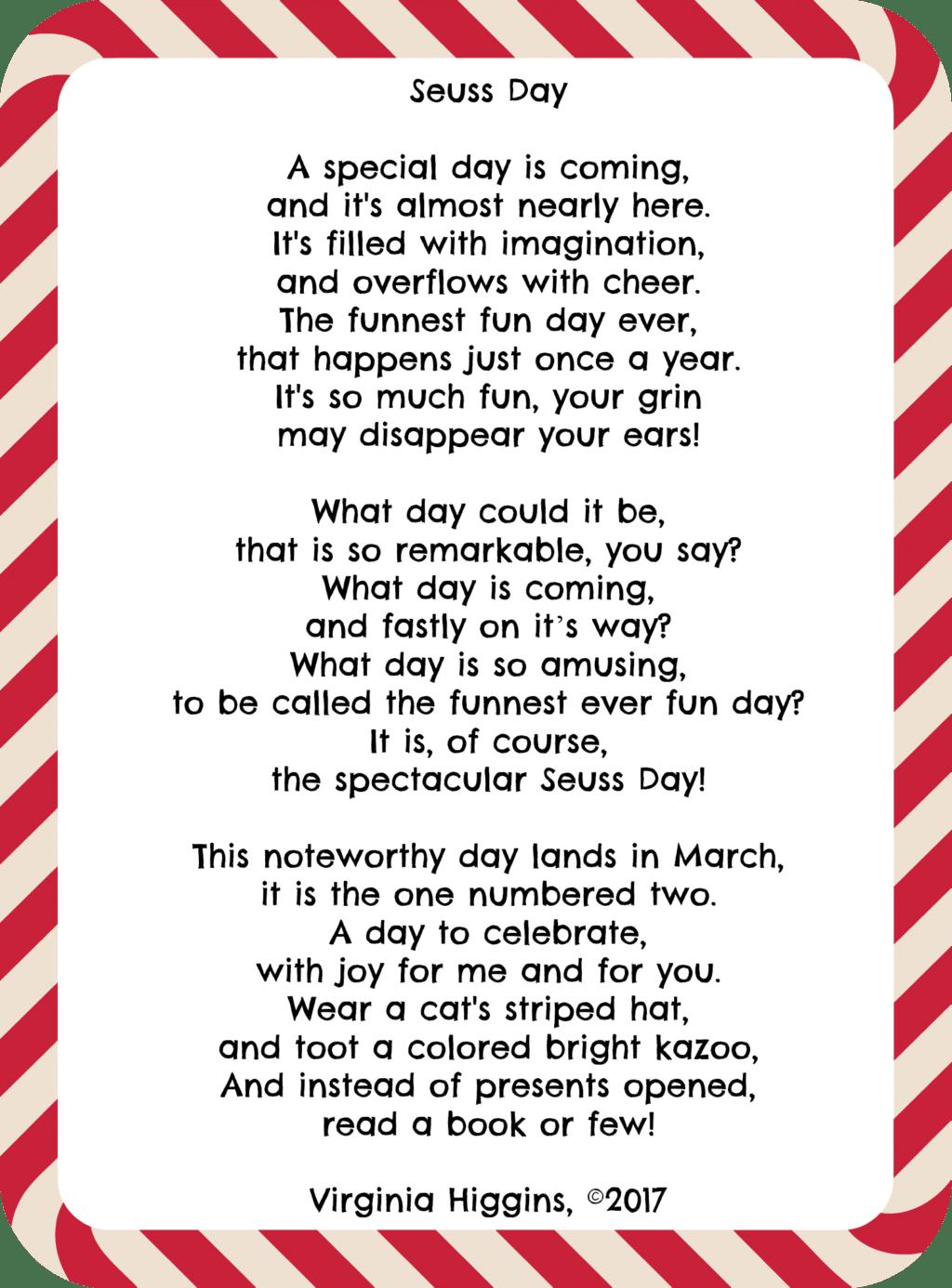 5x7 Printable Seuss Day Poem by Virginia Higgins, ©2017 at thatbaldchick.com