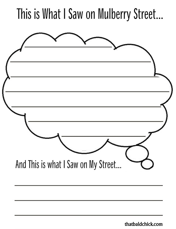 Mulberry Street Unit Study- Printable Journal Page