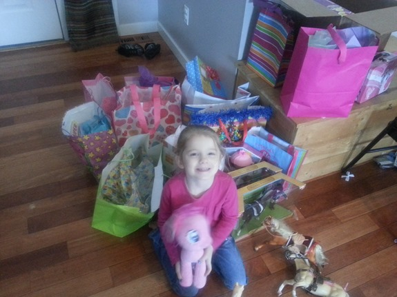 Sister with her party gifts
