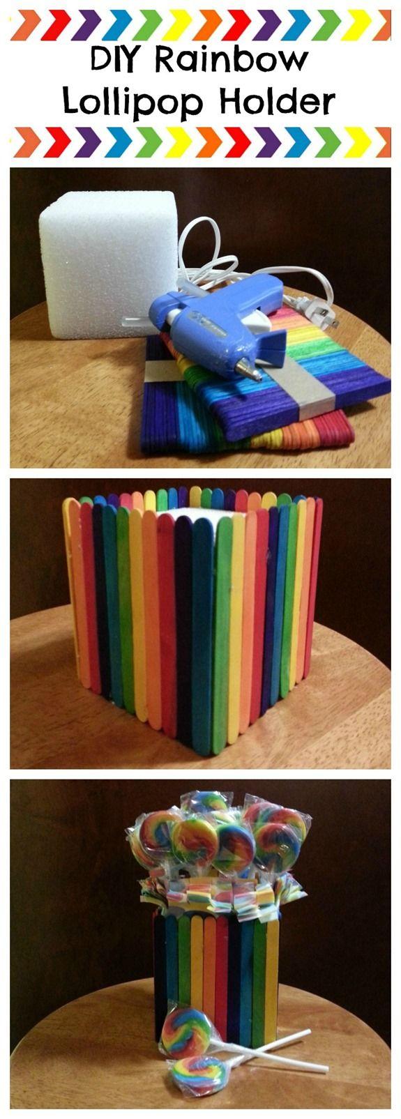 DIY Rainbow Lollipop Holder