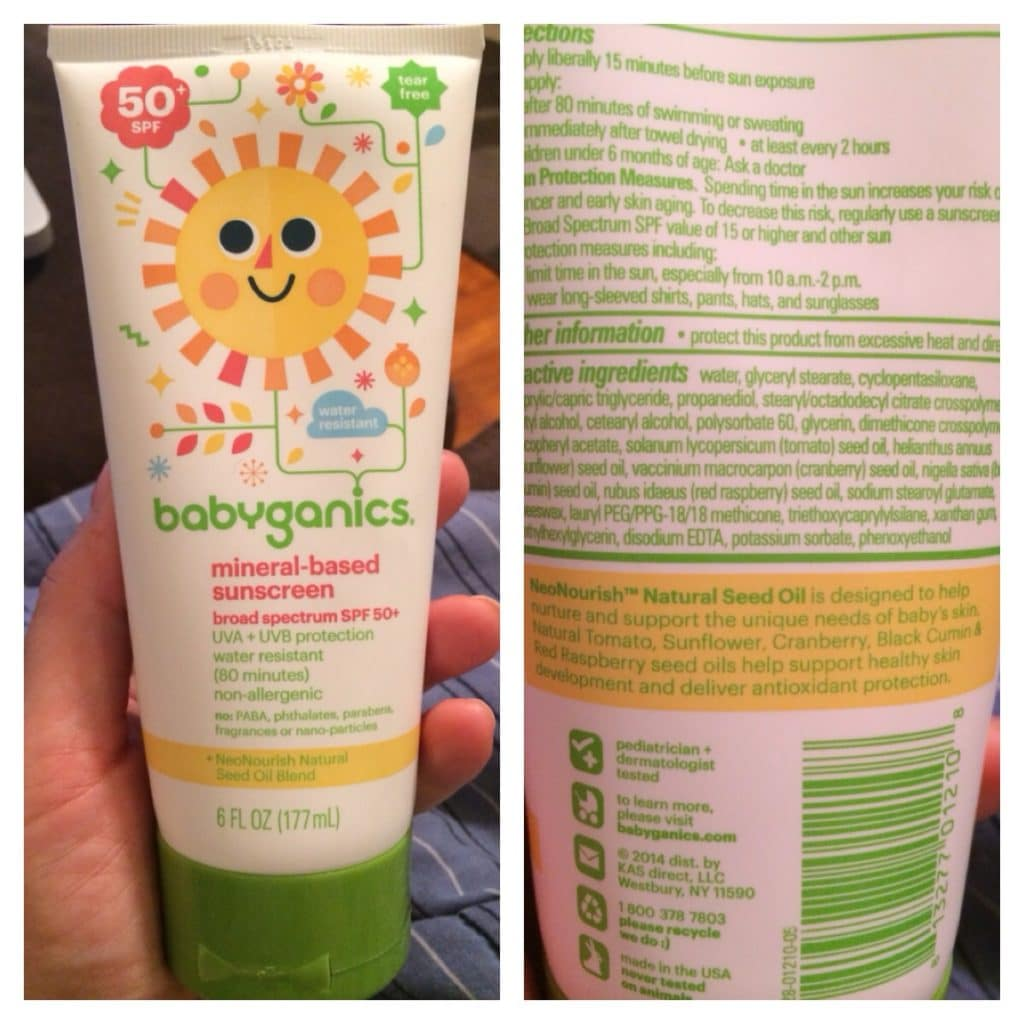 babyganics sunscreen label
