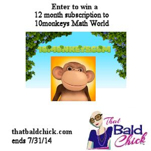 Enter to #win a 12 month subscription for 10monkeys Math World #Giveaway at thatbaldchick.com (ends 7/31)