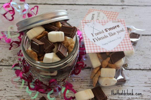 DIY Valentine I Need Smore Friends Like You plus free printable @thatbaldchick