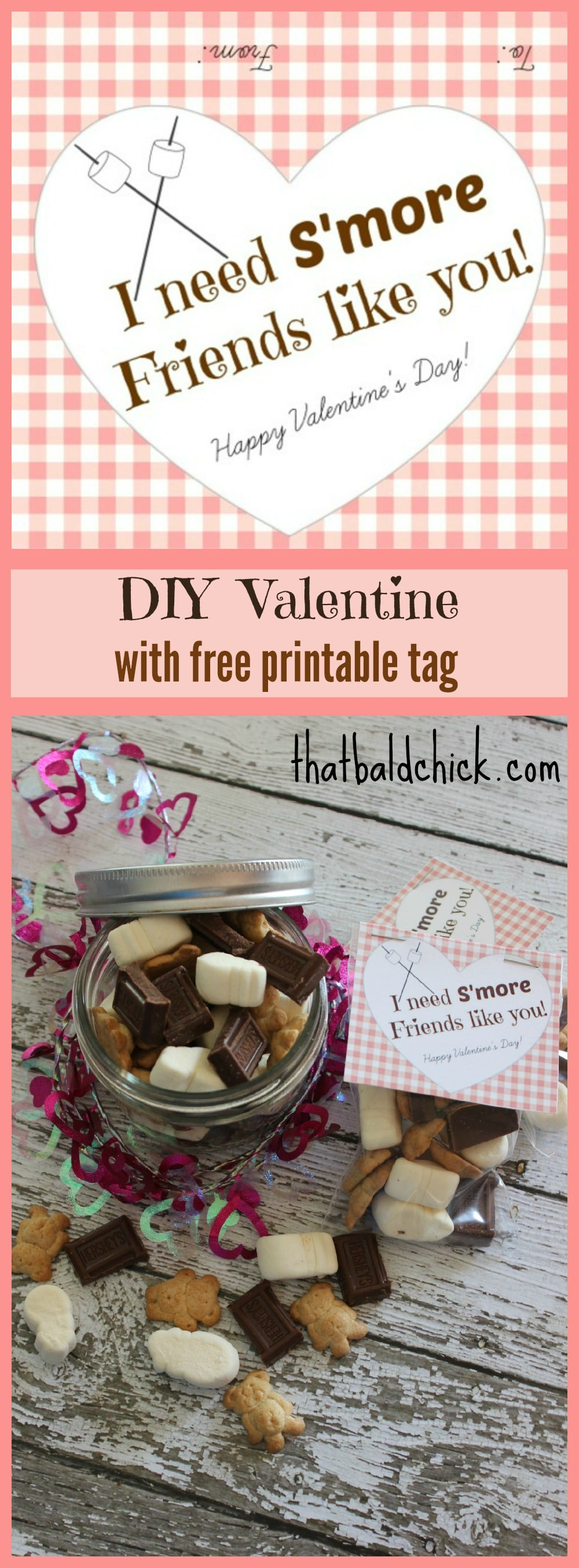 I Need S'More Friends Like You DIY Valentine with Free Printable Tag @thatbaldchick