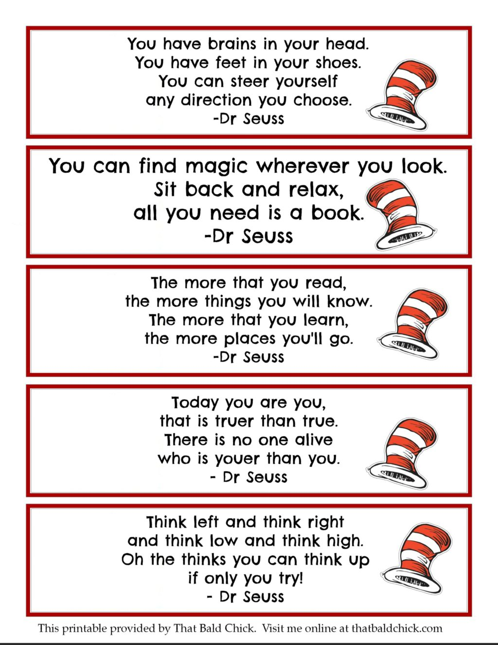 - 13+ Dr Seuss Printables + Free Bookmarks - That Bald Chick®