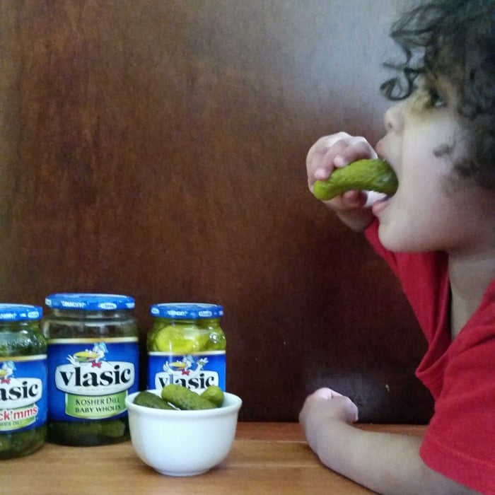 munching pickles as a snack