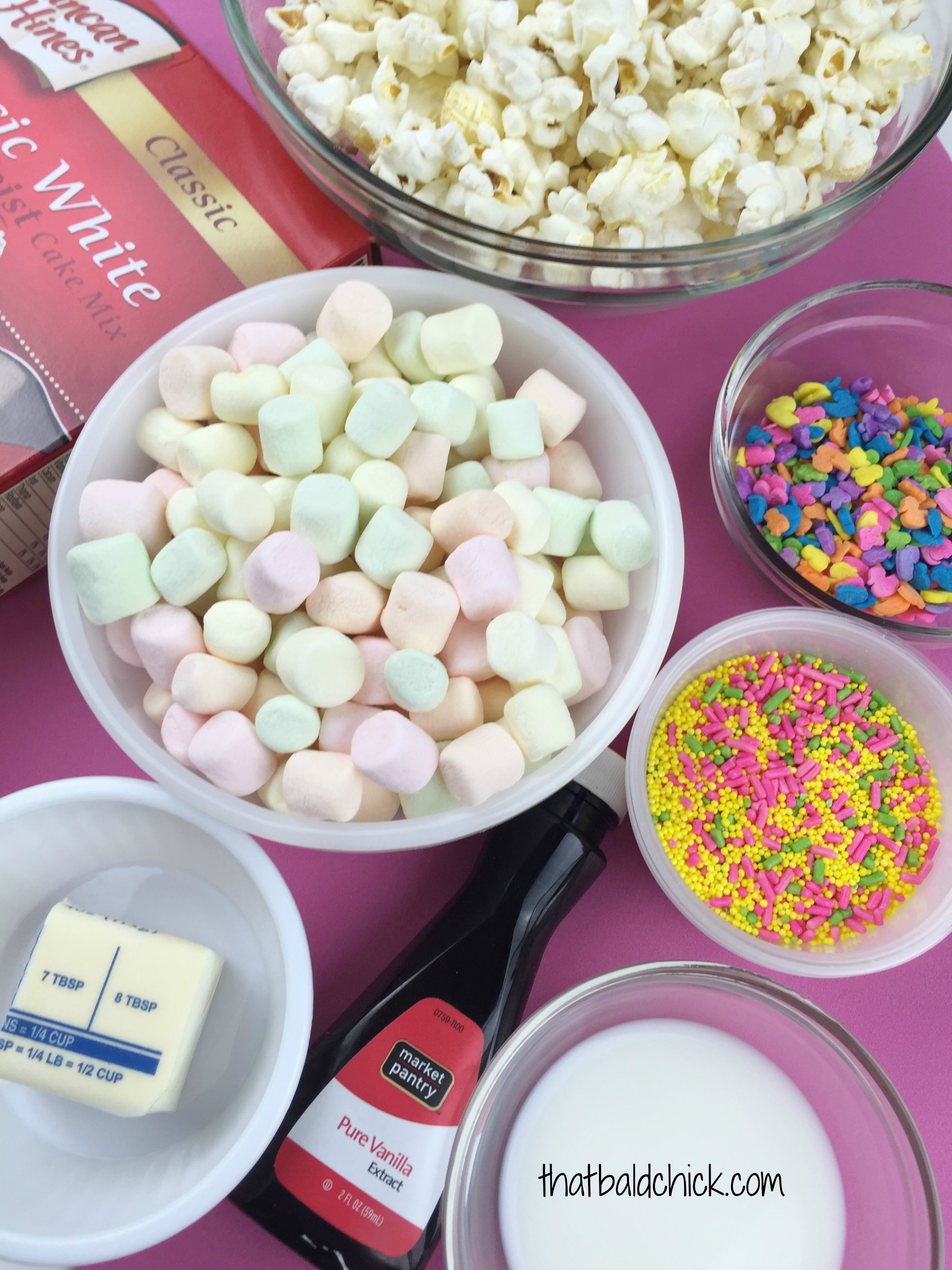 Springtime Marshmallow Popcorn Ingredients