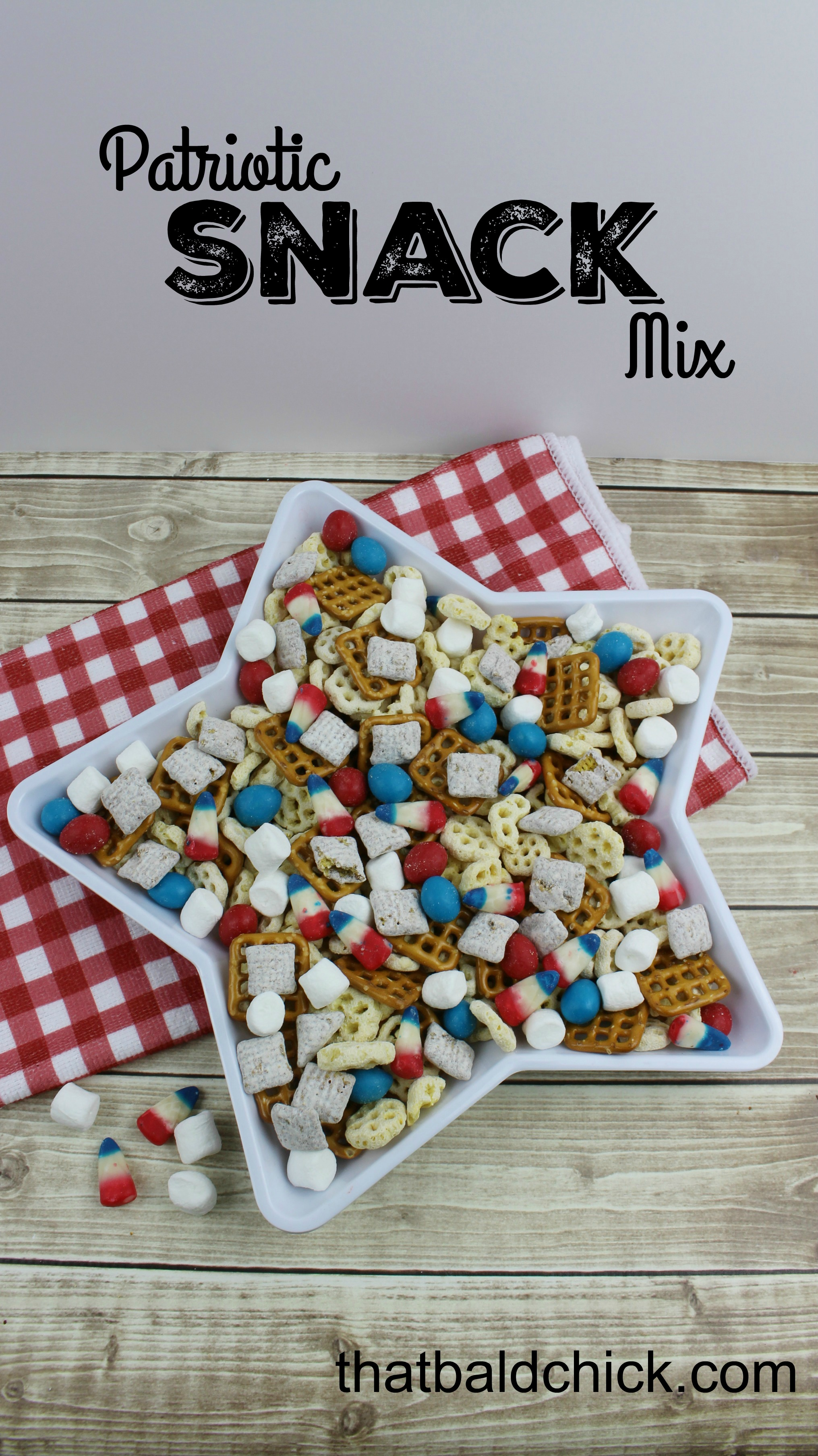 Patriotic Snack Mix Recipe @thatbaldchick