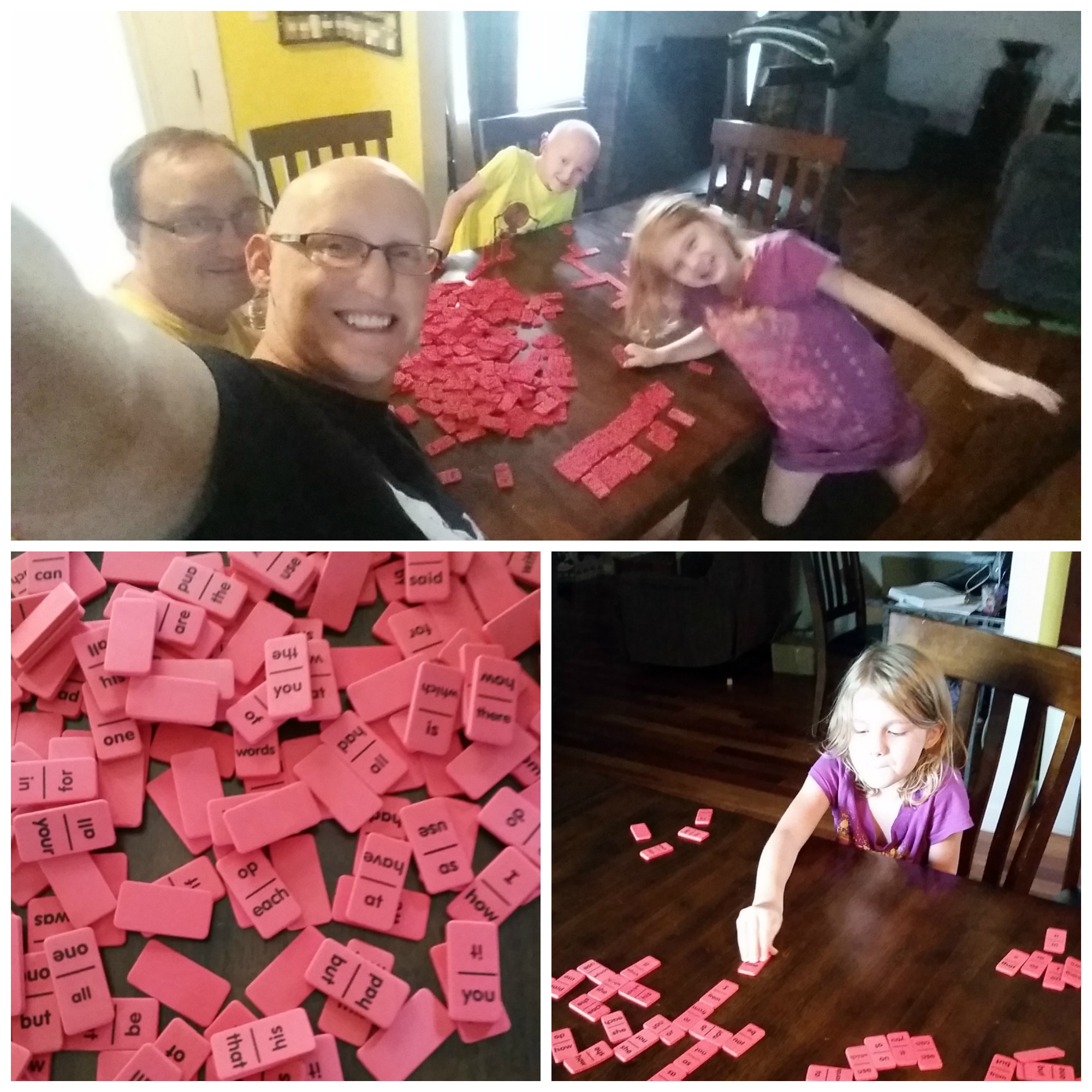Playing sight word dominoes as a family