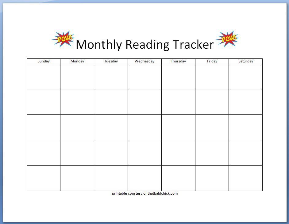 Monthly Reading Tracker