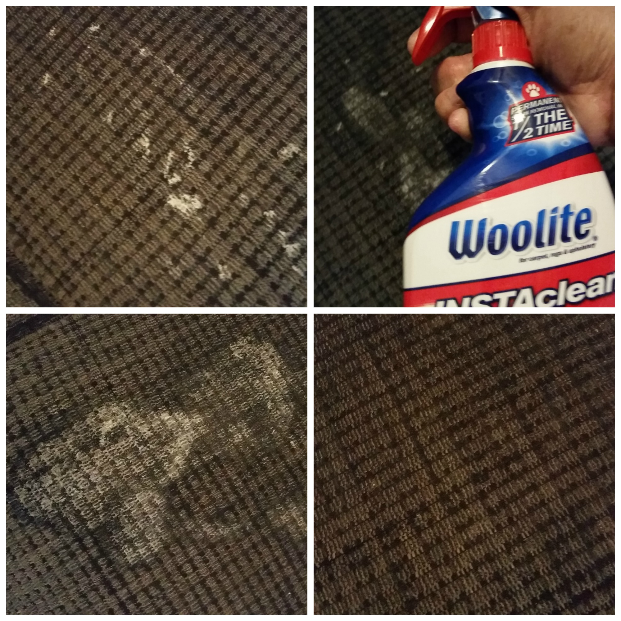 Couch stain before and after Woolite INSTAclean