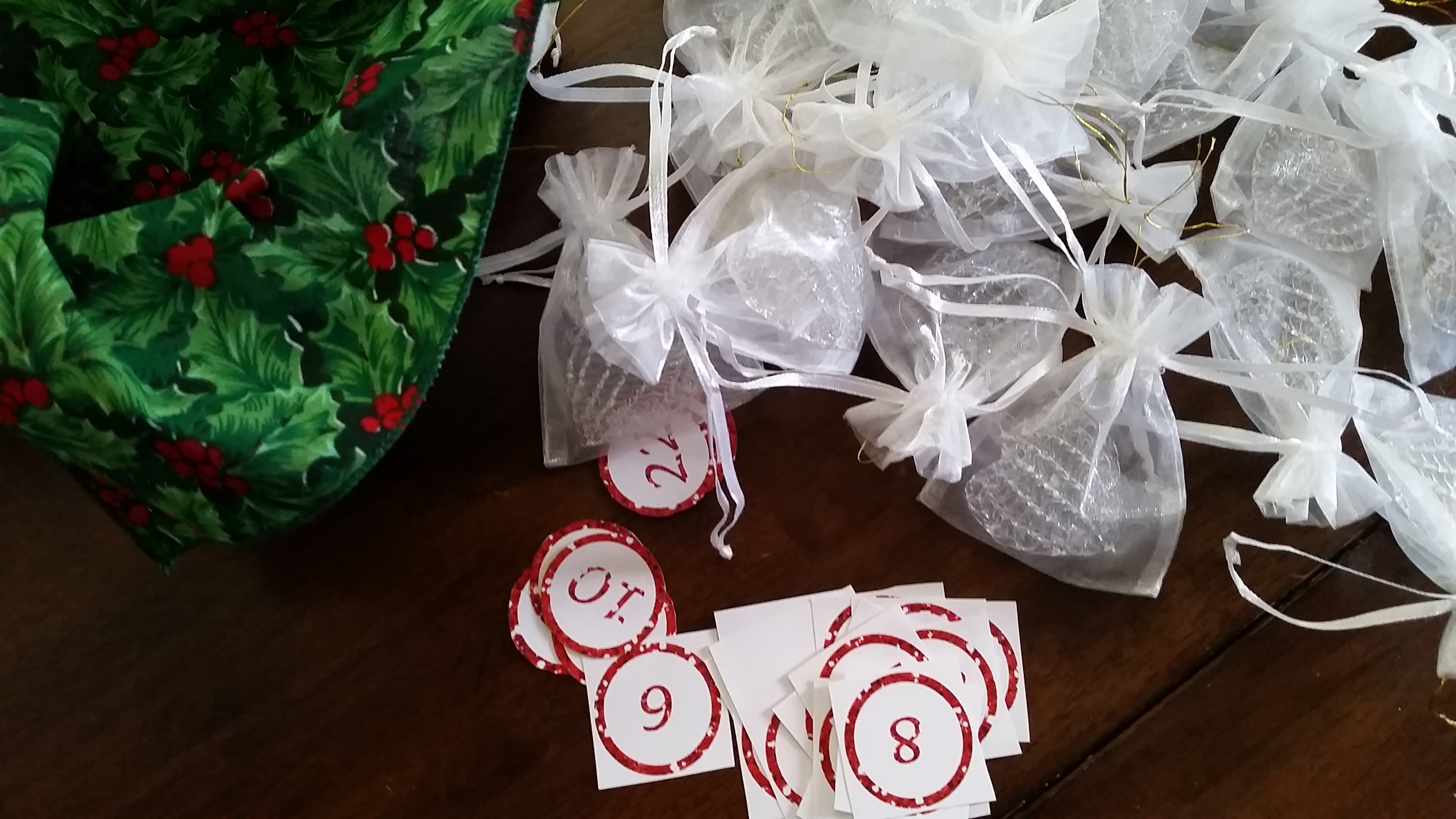 spun glass ornament in organza bag from Oriental Trading