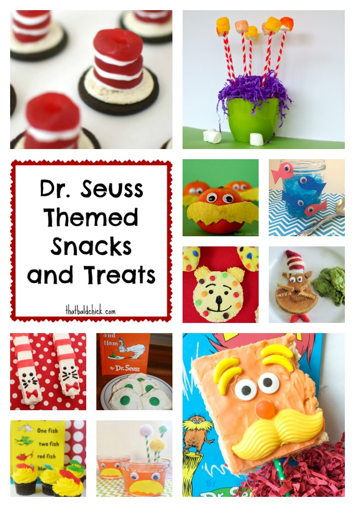 Dr Seuss themed snacks at treats at thatbaldchick.com