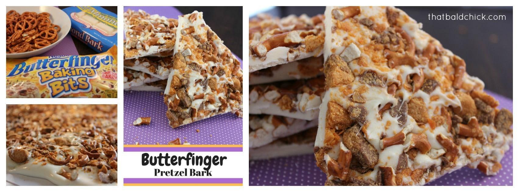 Butterfinger Pretzel Bark at thatbaldchick.com