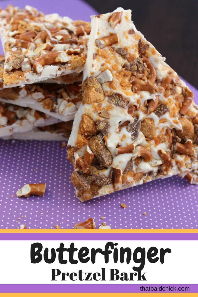 Butterfinger Pretzel Bark at thatbaldchick.com