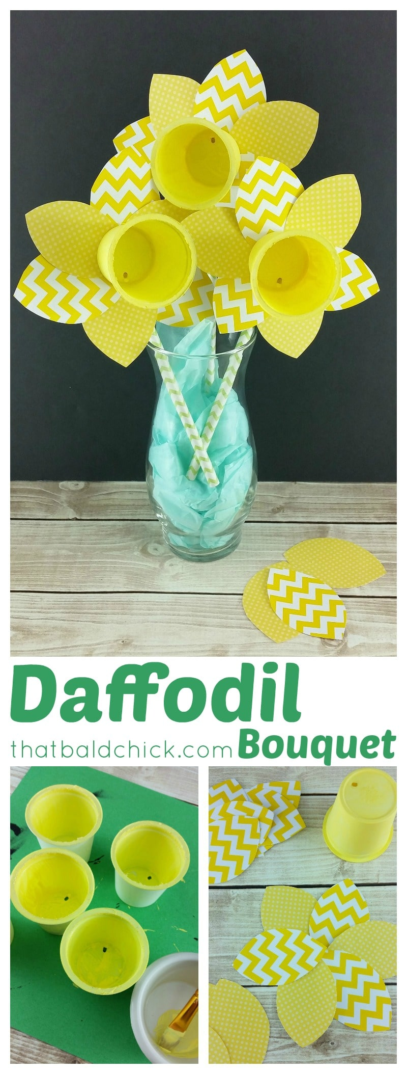 Daffodil Bouquet Craft at thatbaldchick.com