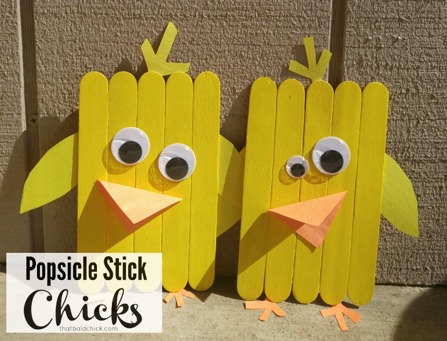Popsicle Stick Chicks Craft at thatbaldchick.com