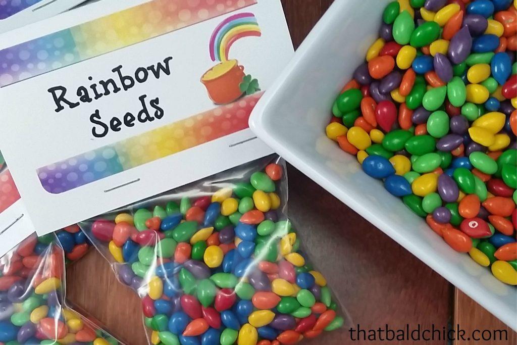 rainbow seed treat _ free printable bag topper at thatbaldchick.com