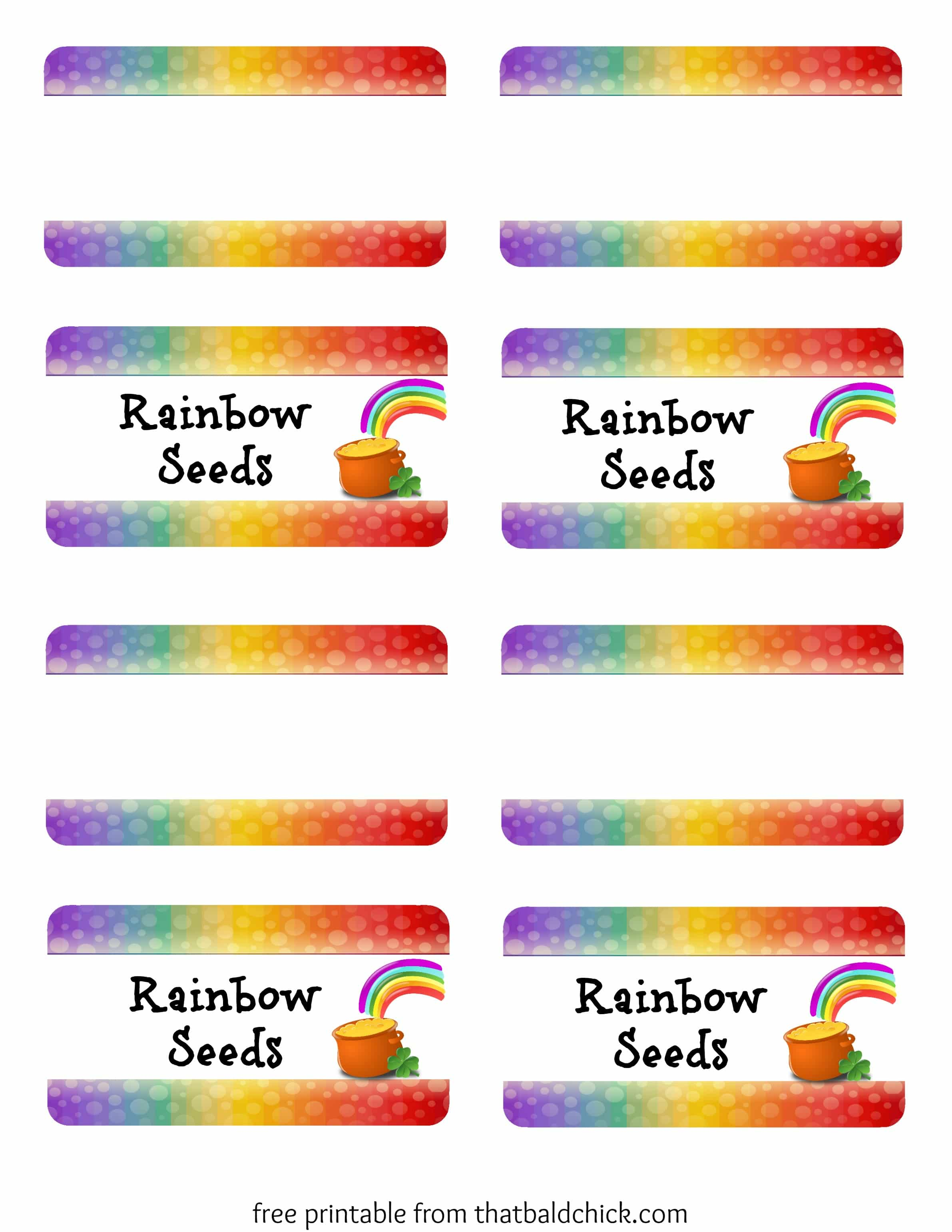 Rainbow Seeds Treat - free printable bag topper at thatbaldchick.com