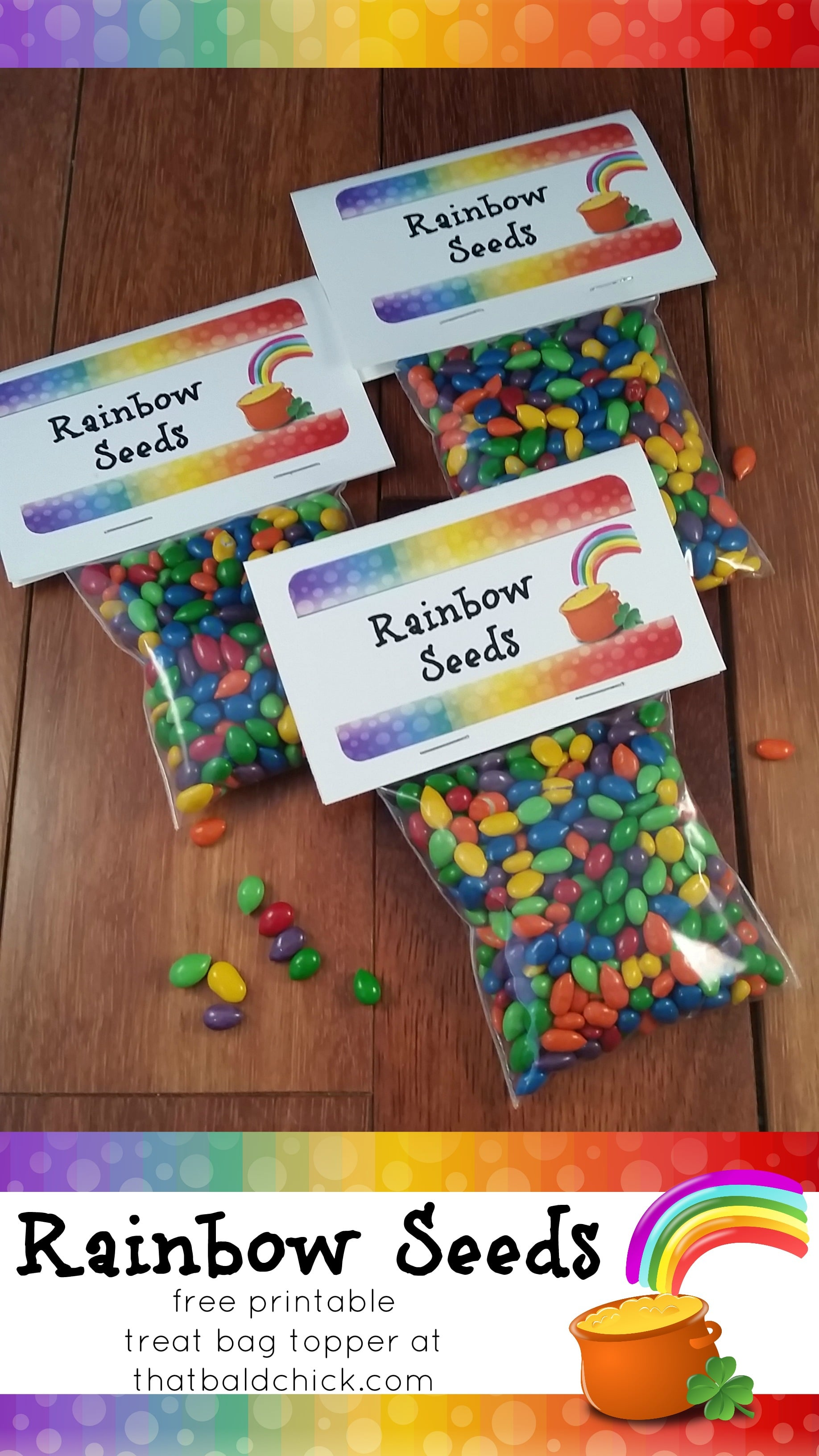 Free printable Rainbow Seeds treat bag topper at thatbaldchick.com