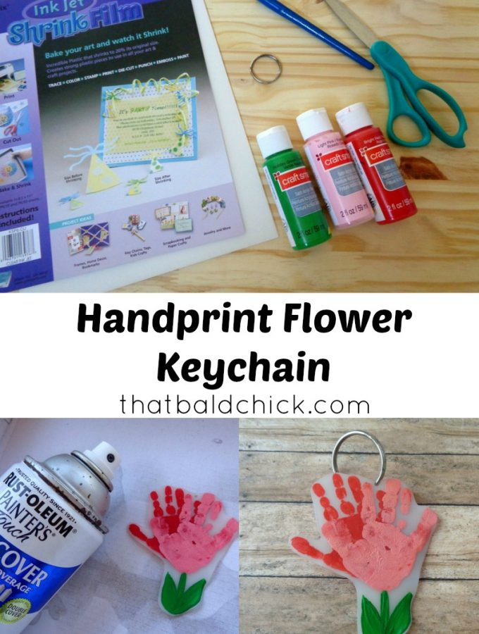 Handprint Flower Keychain at thatbaldchick