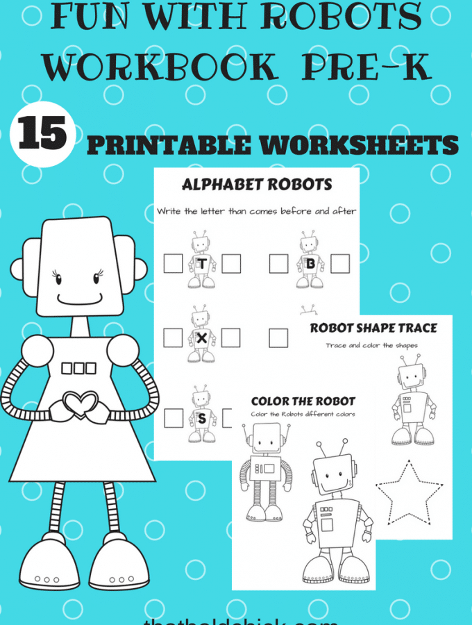 Fun with Robots Printable Workbook at thatbaldchick.com