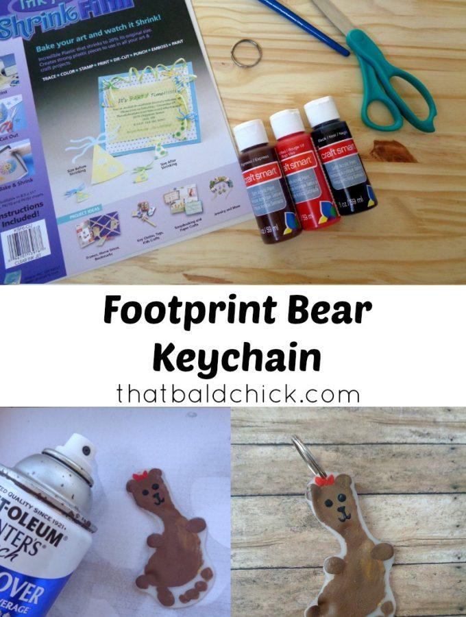 Footprint bear keychain at thatbaldchick.com