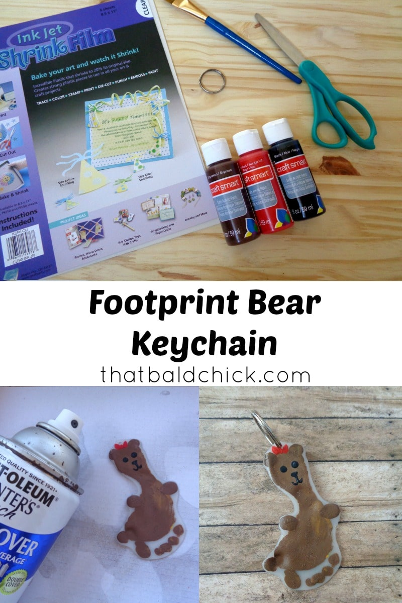 Footprint bear keychain at thatbaldchick.com