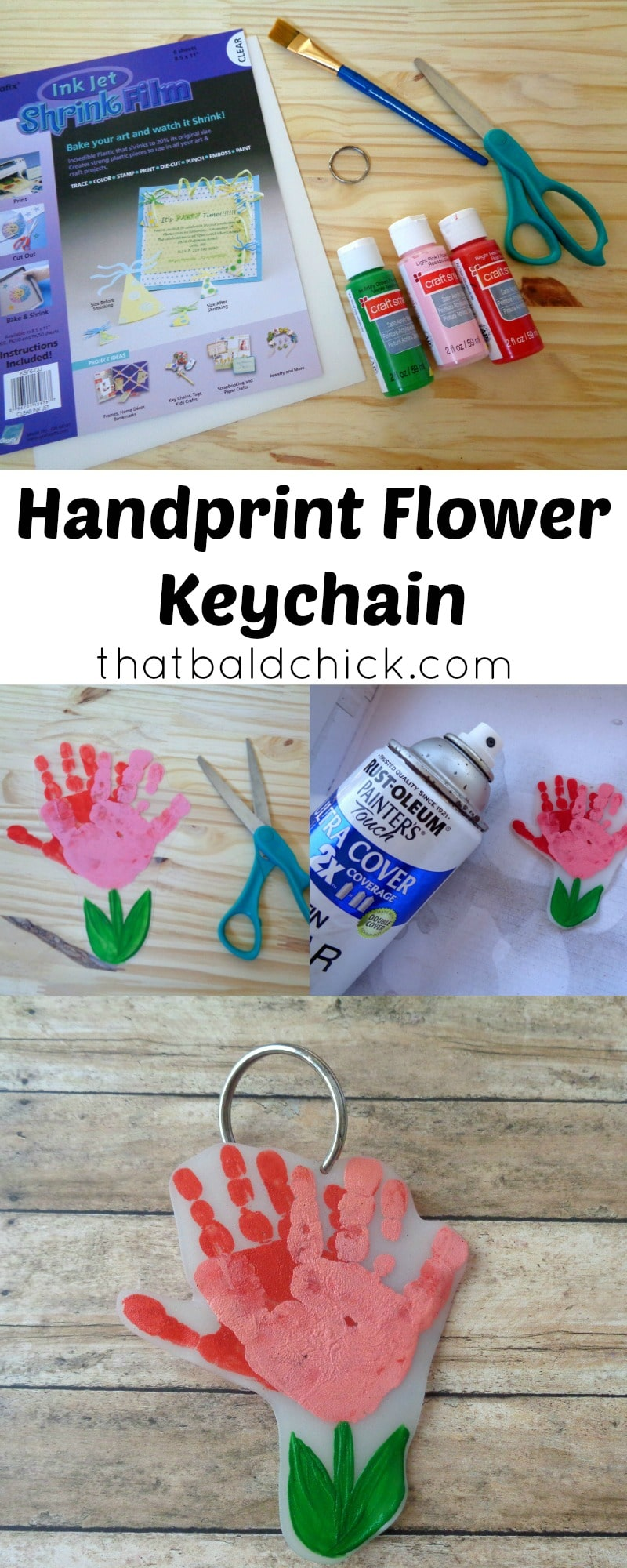 handprint flower keychain at thatbaldchick.com