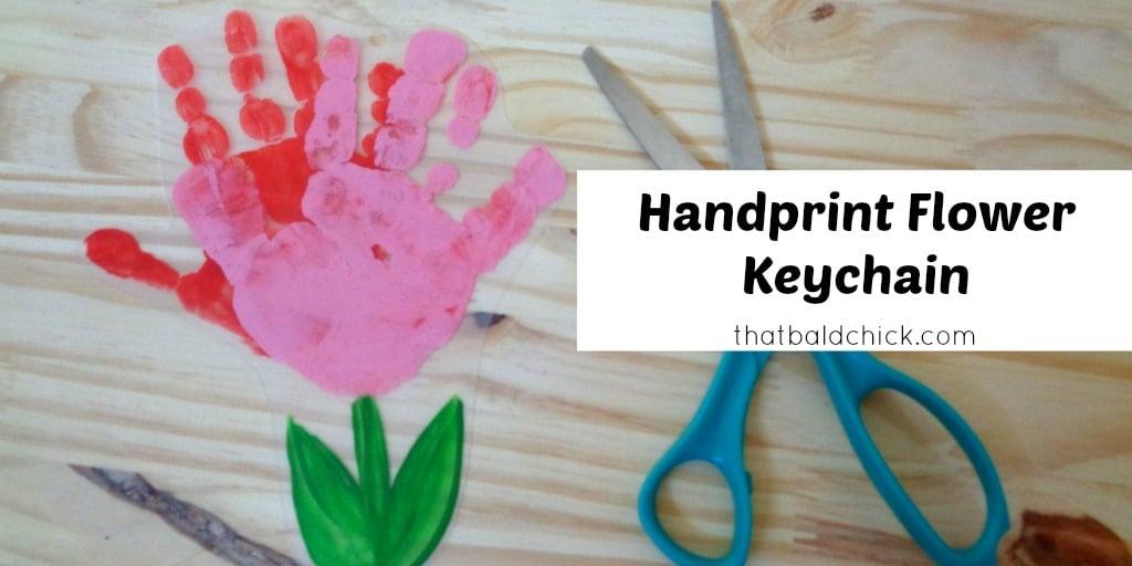 handprint flower keychain