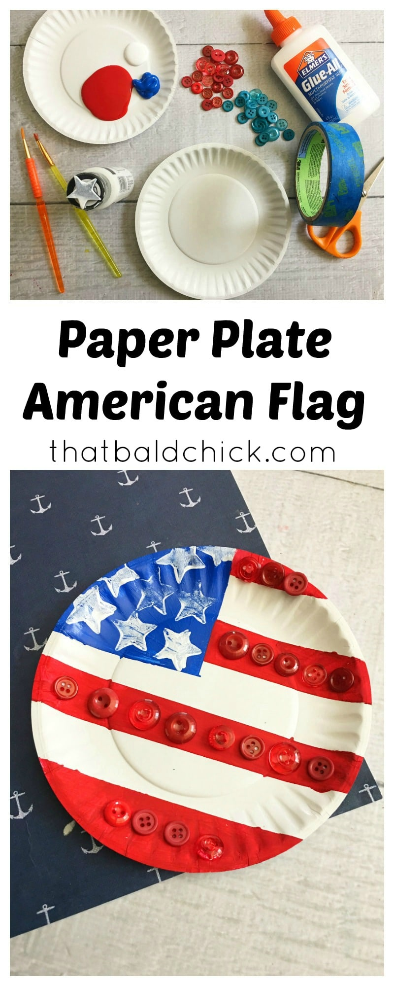 Paper Plate American Flag Craft at thatbaldchick.com