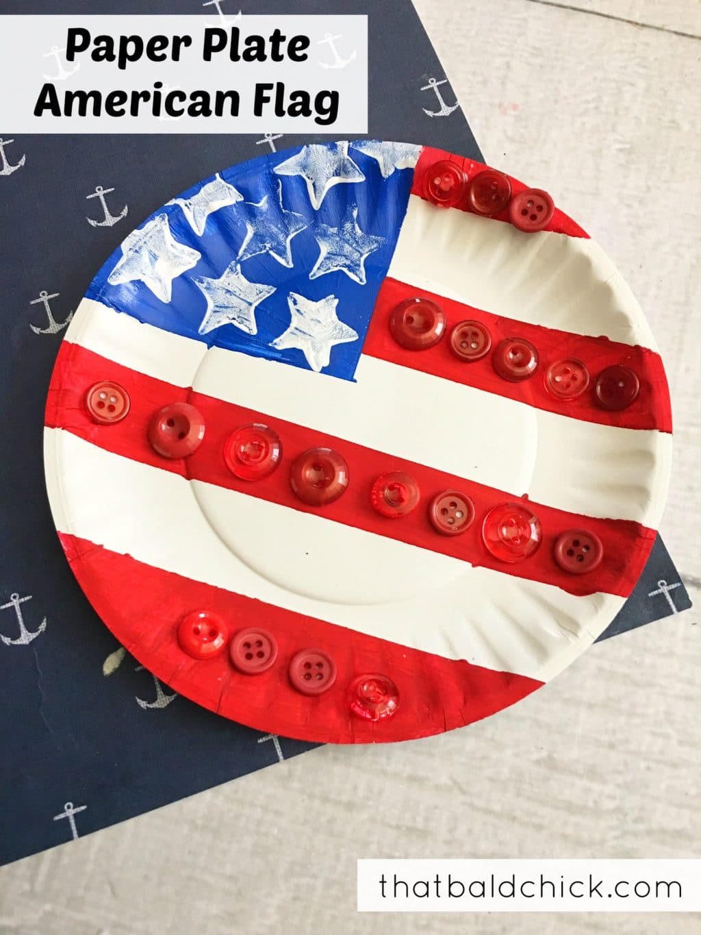 Paper Plate American Flag at thatbaldchick.com