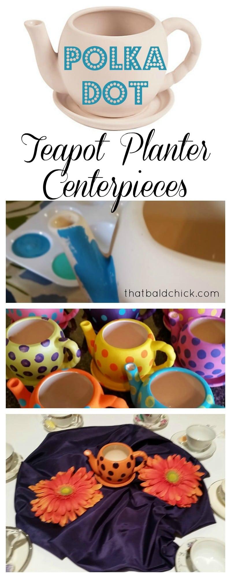 Polka Dot Teapot Planter Centerpieces at thatbaldchick.com