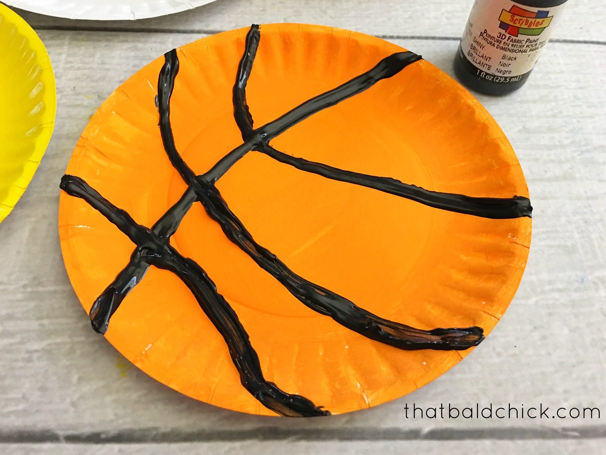 paper plate basketball at thatbaldchick.com