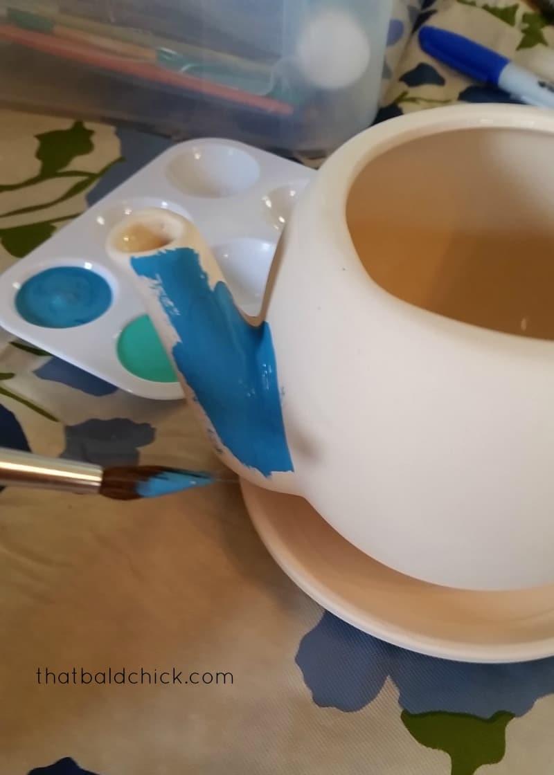 ceramic teapot planter at thatbaldchick.com