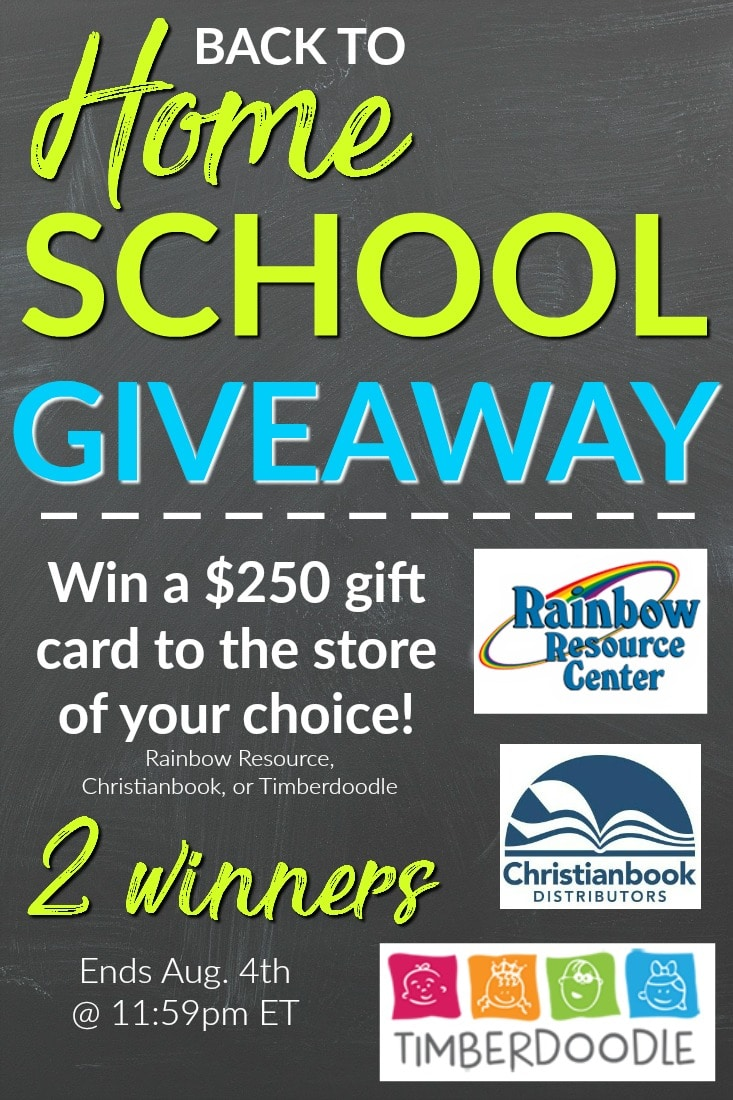 Back to Homeschool Giveaway - Win a $250 gift card to the store of your choice - 2 winners!
