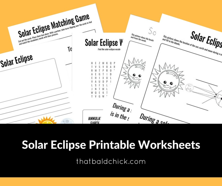 Solar Eclipse Printable Worksheets at thatbaldchick.com