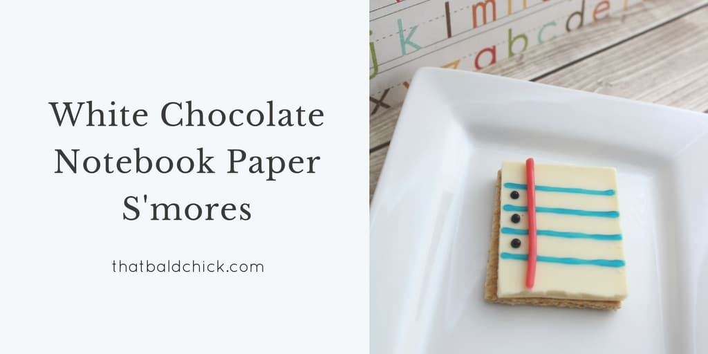 Get them excited about going back to school with these Notebook Paper S'mores. Notepaper s'mores make perfect back to school treats! Recipe and instructions at thatbaldchick.com