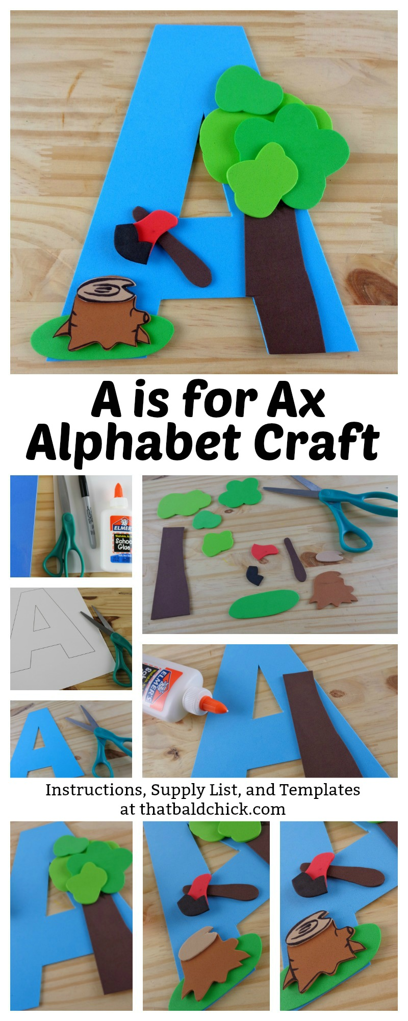 A is for Ax Alphabet Craft - Instructions, Supply List, and Templates at thatbaldchick.com