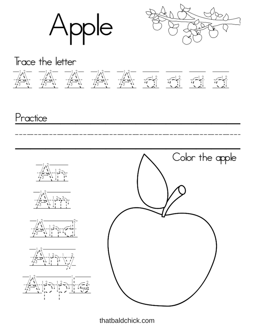 Letter A Alphabet Writing Practice printable at thatbaldchick.com