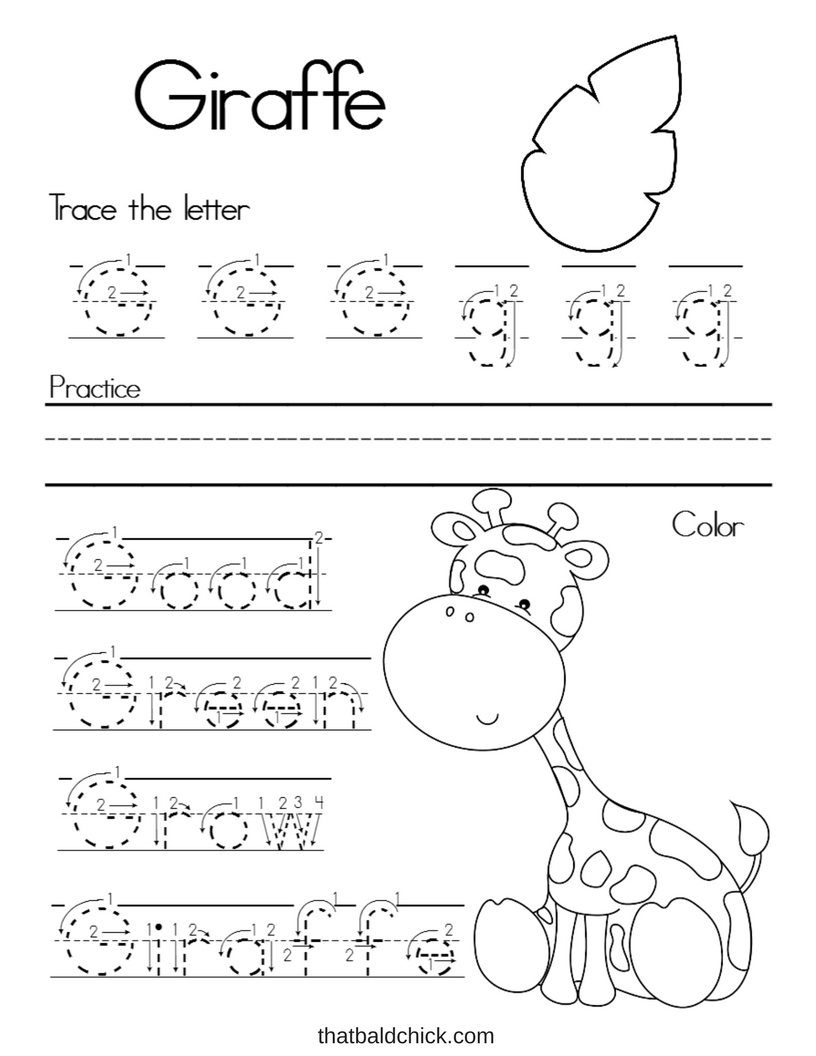 Letter G Alphabet Writing Practice