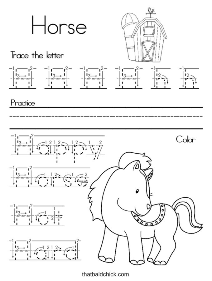 Get this free letter H alphabet writing practice printable at thatbaldchick.com