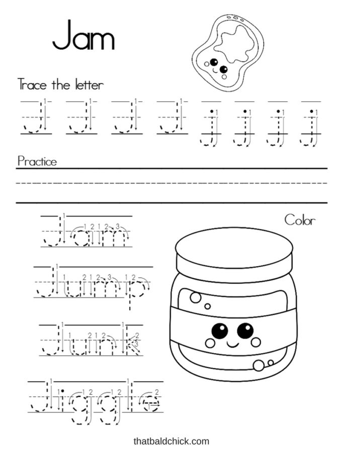 Get this free Letter J Alphabet Writing Practice printable at thatbaldchick.com. #free #printable #homeschool #teacher #alphabet #abcs #lotw