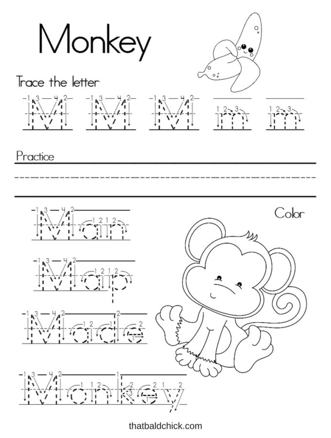 Letter M Alphabet Writing Practice printable at thatbaldchick.com
