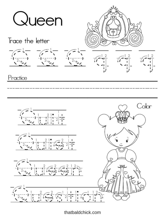 Get this free Letter Q Alphabet Writing Practice printable at thatbaldchick.com. #homeschool #teacher #abcs #alphabet #lotw #free #printable