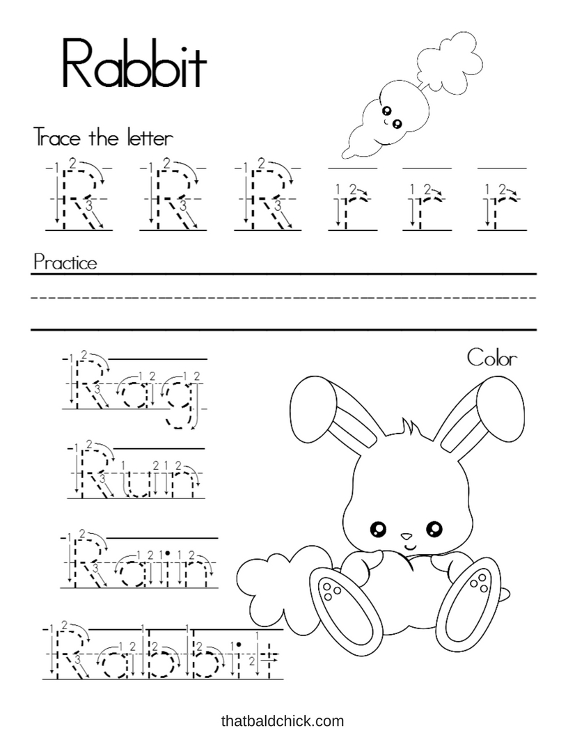 Letter R Alphabet Writing Practice at thatbaldchick