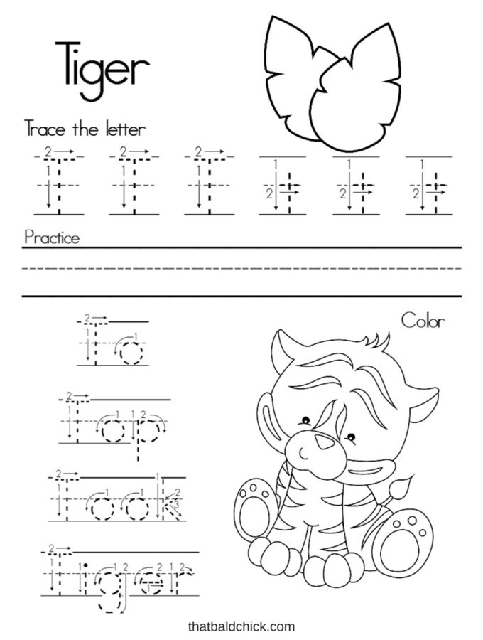 Get this #free Letter T #Alphabet Writing Practice #printable at thatbaldchick.com. #abc #lotw #preschool #homeschool #homeschooling