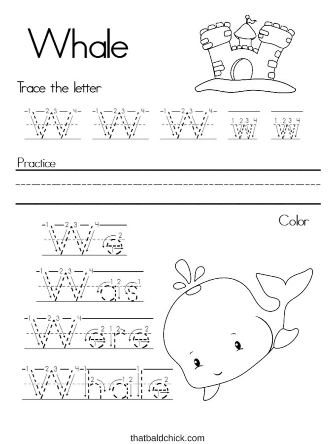 Get this #free Alphabet Writing Practice Letter W #printable at thatbaldchick.com. #homeschool #preschool #teachers #abc #lotw #homeschooling